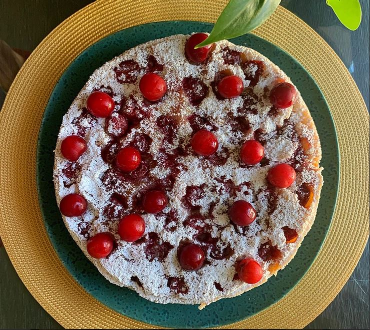 Cherry Almond Upside Down Cake